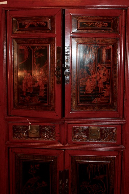 armoire troite d cors traditionnels chinois puces d 39 oc. Black Bedroom Furniture Sets. Home Design Ideas