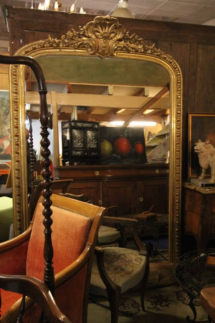 grand miroir dor epoque xix me puces d 39 oc brocante en ligne. Black Bedroom Furniture Sets. Home Design Ideas