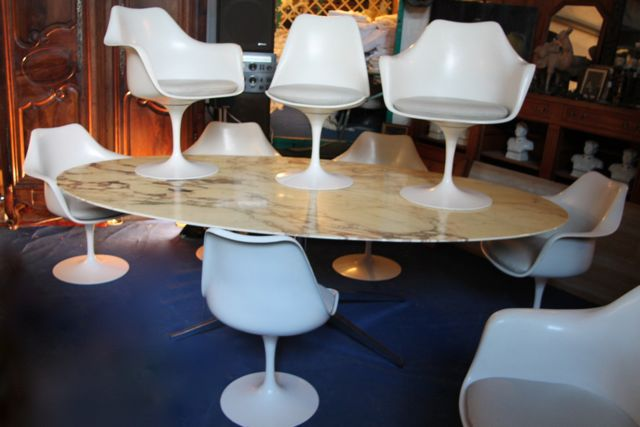 Ensemble salle manger grande table florence knoll si ges tulipe eero saarinen puces d 39 oc for Table knoll occasion