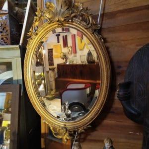 miroir medaillon dore ancien