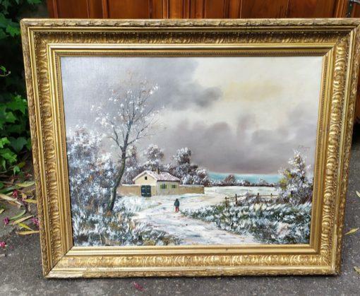 tableau paysage de neige
