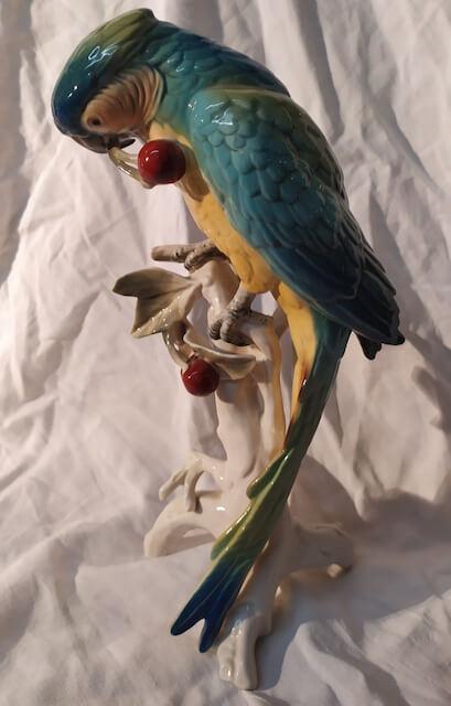 porcelaine saxe perroquet aux cerises