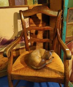 sculpture chat en bois